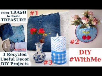 3 Trash to Treasure Decor using Recycled Denim Jeans , Blue & White Candle #StayHome DIY #WithMe