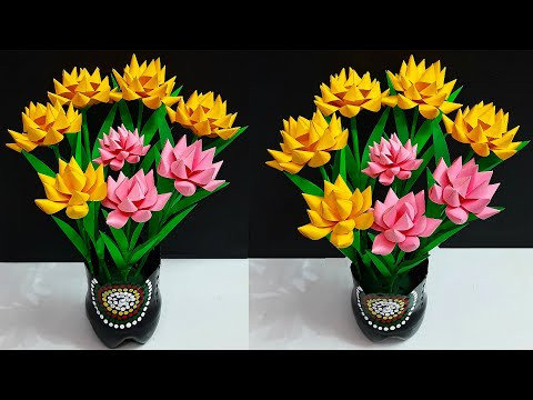 Youtube Video Diy Paper Flower Bunch Bouquet Made With Plastic Bottle Flower Vase Diy Room Decoration Idea Handmade Video