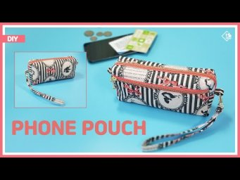 DIY/ PHONE POUCH WITH STRAP/ WRISTLET WALLET/ 손목 스트랩이 있는 폰 파우치만들기/ 지퍼파우치 만들기/ sewing/ tutorial