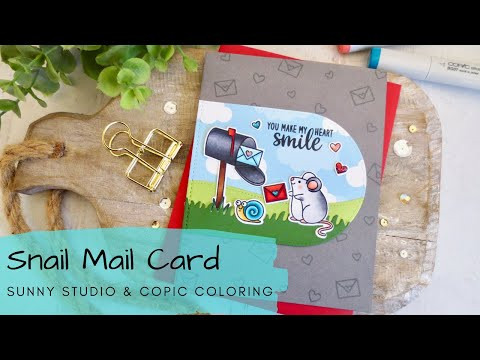 Snail Mail Card | Copic Coloring for Card Makers | Sunny Studio Stamps