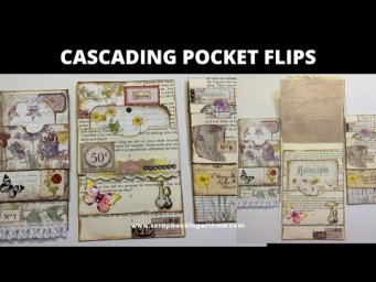 CASCADING POCKET FLIPS FOR JOURNALS ~ FROM BOOK PAGES AND PATTERN PAPER