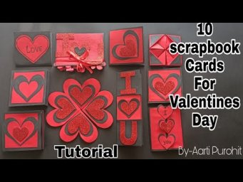 10 Scrapbook cards for Valentine's Day||10Scrapbook card Making ideas For Valentines scrapbookin