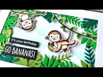 Cheeky Swinging Monkey Interactive Card - Heffy Doodle Stamps