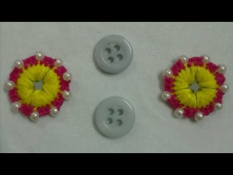 Hand Embroidery Amazing Button Flower Trick | Beautiful Flower Hand Stitch | Beautiful Flower Trick