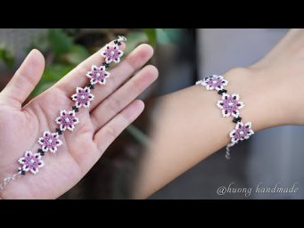 Cherry blossom bracelet. How to make beaded bracelet with only seed beads. Beading tutorial