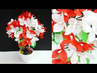 DIY- flower stick/flower bunch making with shopping carry bags |Best out of waste room decor idea
