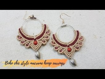 How to make a macrame hoop earrings DIY: Boho chic style by Thaohandmade