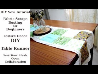 DIY Sew Tutorial Table Runner - No Pattern Necessary / Scrap Busting Sew Project for Beginners