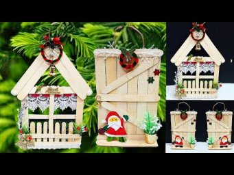 DIY Christmas tree ornament made with popsicle stick at home| Economical Christmas craft idea