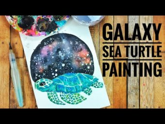 Galaxy Sea Turtle Watercolor Painting