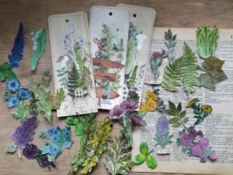 Prt.2 Stamping and water coloring your own botanical ephemera / eco junk journal  fussy-cut flowers