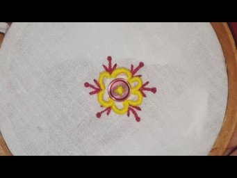 Hand Embroidery:Amazing Button Flower Trick,Make Beautiful Flower Hand Stitch,Sewing Hack