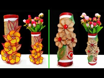2 Flower Vase made with waste Empty roll and Jute rope| Best out of waste room decoration idea
