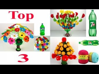 Top 3 Beautiful Flower Vase With Plastic Bottle - WASTE PLASTIC BOTTLE GULDASTA AT HOME