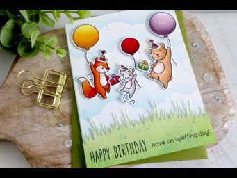 Uplifting Birthday Card | Copic Coloring | Lawn Fawn