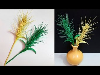 How to make Wheat floret/wheat branch made from crepe paper  |DIY-room decoration idea