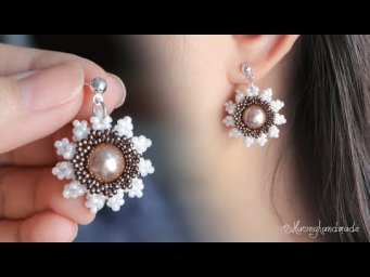 White daisy flower earrings diy. How to make beaded earrings