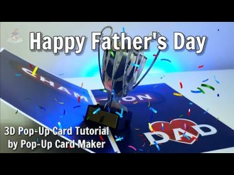 How To Make This Father's Day 3D Trophy Pop-Up Card - Tutorial with Templates