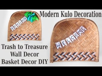 Modern Boho Farmhouse Basket Wall Hanging Decor DIY Kulo Decoration Ideas Trash to Treasure
