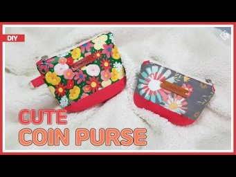 DIY/ CUTE COIN PURSE/ MINI ZIPPER POUCH / Sewing Gift Ideas/ Easy Sewing/ 자투리 원단으로 귀여운 동전지갑 만들기 /