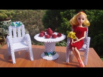 3D Origami Table and Chair For Doll | DIY Paper Miniature Table and Chair