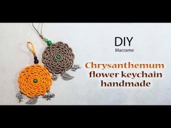 How to make a chrysanthemum flower keychain macrame DIY by Thaohandmade