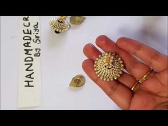How To Make Paper Jhumkas/Making Simple and Beautiful Pearl Jhumkas/Festival jhumkas making