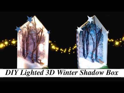 How to Make Winter Shadow Box with Lights - Easy Tutorial