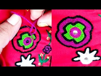 How to stitch hand embroidery mirror work beautiful design2021