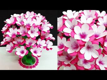 Handmade paper flowers Bouquet/Guldasta with Empty Plastic bottle|Best out of waste room decor idea