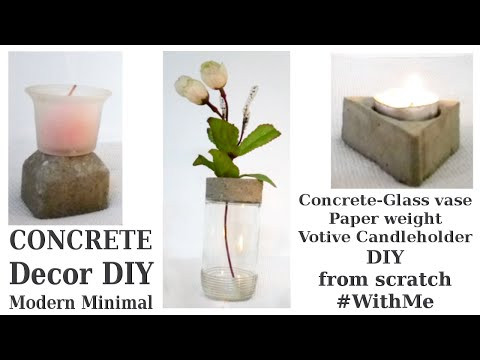 3 Modern Minimal Industrial Concrete Decor DIY Vase Candleholder from scratch #WithMe