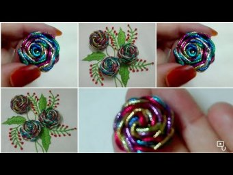 Hand Embroidery : Beautiful Flower Embroidery / Amazing trick  Flower Hand Stitch