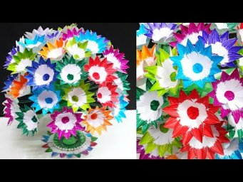 Paper Flower Bouquet made with Empty Plastic bottle| DIY-Paper flowers Guldasta making idea