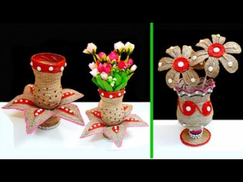 2 Flower Vase made with waste Plastic Bottle and Jute rope| Best out of waste room decoration idea