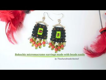How to make a macrame earrings DIY: bohochic micro macrame earrings made with beads easily