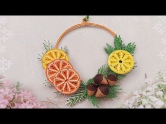 Quilling Christmas Wreath With Orange | DIY Paper Christmas Wreath Home Decor