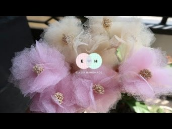Easy Tulle Fabric Flowers - Hand Embroidery Works - Ribbon Tricks & Easy Making Tutorial #106