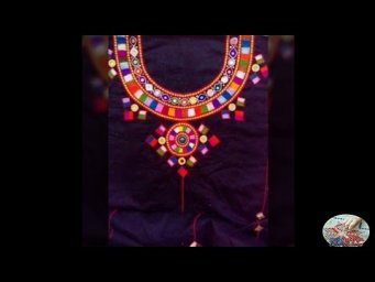 sindhi hand embroidery and mirror work on bleak shirt neck design2020