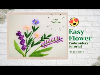 learn to embroider daisy and lavender flower. Lazy daisy stitch.Embroidery tutorial for beginners.