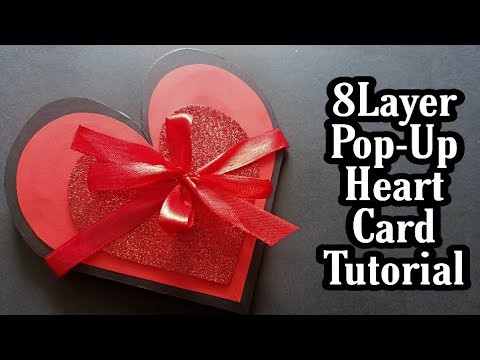Heart Pop-Up Card For Scrapbook|| 8 Layer Pop-Up Heart Card Tutorial||Flower Heart Card Tutorial