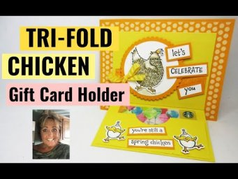 ADORABLE CHICKEN TRI FOLD Gift Card Holder