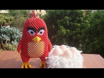 3D Origami Angry Bird Tutorial | DIY Paper Red Angry Bird Home Decor