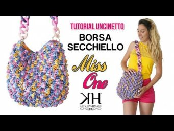 "TUTORIAL BORSA SECCHIELLO UNCINETTO ""Miss One"" - Punto Nocciolina in tondo crochet ♡ Katy Handmade"