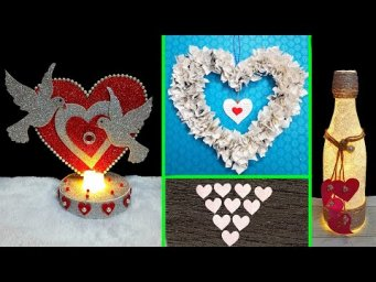 DIY 4 Valentine craft made with recycled material on low budget| Valentine day Craft ideas (Part 7)