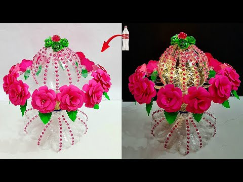 How to make Flower Bouquet with LED.Light from Plastic bottle | DIY Room Decoration idea