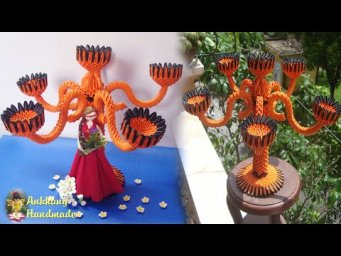 3d origami candle holder stand showpiece homemade | DIY candle holder stand home decor idea