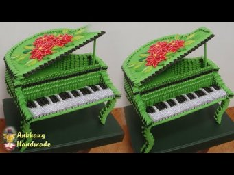 3d origami grand piano tutorial | DIY paper miniature grand piano home decoration idea