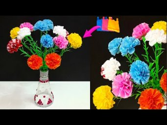 flowers Bouquet/Guldasta made with Plastic carry Bag & Plastic bottle|DIY-room decoration idea