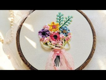 Petal Stitch Hand Embroidery Flowers Bouquet
