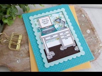 Just My Type Card | Copic Coloring | Lawn Fawn | Card Making and Paper Craft